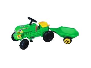 Nagy traktor zöld utánfutós