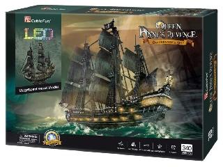 3D puzzle Queen Anne\'s Revenge ledvilágítással