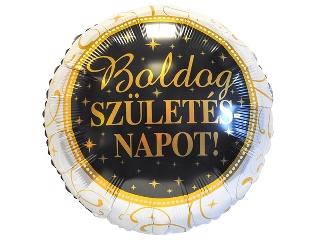 45 cm-es Elegáns Boldog Születésnapot fólia lufi héliummal felfújva