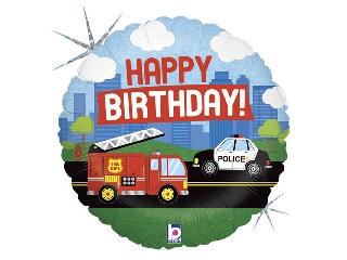 45cm Happy birthday fólia lufi rendőrös, tűzoltós héliummal felfújva