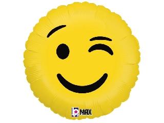 46cm Emoji kacsintós fólia lufi héliummal felfújva