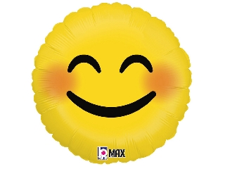 46cm Emoji mosolygós szemű fólia lufi héliummal felfújva