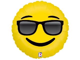 46cm Emoji napszemcsis fólia lufi héliummal felfújva