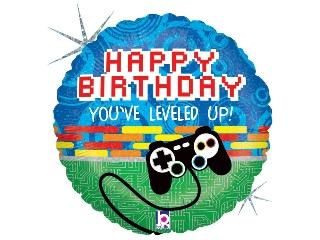 46cm Happy birthday fólia lufi gamer héliummal felfújva