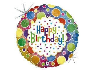 46cm Happy Birthday színes fólia lufi héliummal felfújva