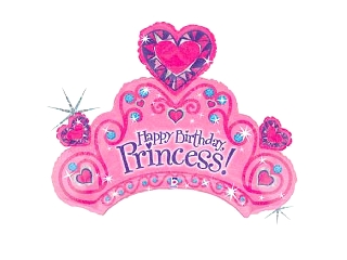 86cm Happy Birthday Tiara fólia lufi héliummal felfújva