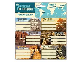 A világ 7 új csodája csomagolt füzetcímke (3x6 db)