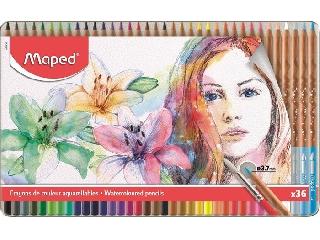 Akvarell 36 darabos ceruza készlet, ecsettel, fém doboz, MAPED