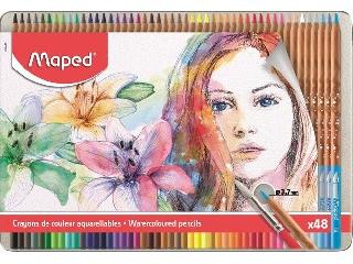 Akvarell 48 darabos ceruza készlet, ecsettel, fém doboz, MAPED