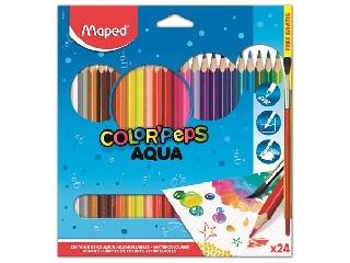 Akvarell 24 darabos ceruza készlet, háromszögletű, ecsettel, MAPED