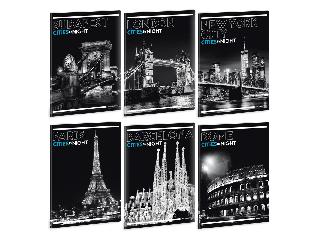 Ars Una Cities by Night A/5 extra kapcsos füzet-kockás