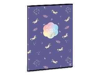Ars Una Wonderland Unicorn A/4 extra kapcsos füzet-vonalas