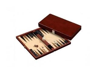 Backgammon fából, 28x15 cm, sötétbarna