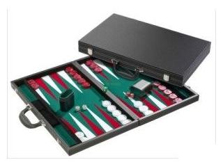 Backgammon - fekete műbőr koffer, 46 cm-es