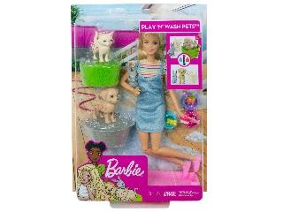 Barbie állatka napközi szett szőke babával