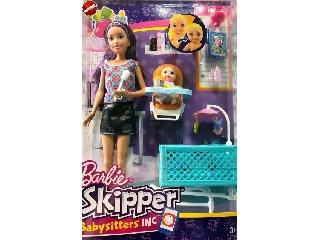 Barbie bébiszitter játékszett - Barna hajú baba