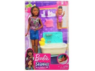 Barbie bébiszitter játékszett - Fekete hajú néger baba, fürdőkáddal