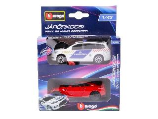 Bburago rendőrautó és üldözött autó - 1:43