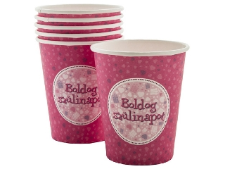 Boldog Születésnapot pohár - Pink 6 db /cs