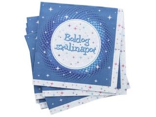 Boldog Születésnapot szalvéta - Kék 33x 33 cm 16 darab