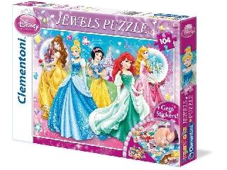 Clementoni Puzzle 104 db-os puzzle - Disney Hercegnők köves matricákkal