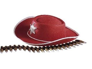 Cowboy kalap filcből - piros