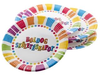 Csíkos-pöttyös Boldog Születésnapot tányér 23 cm 6 darab