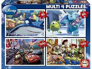 Educa Disney Pixar mesehősök puzzle, 4 az 1-ben