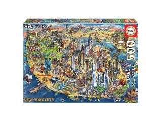 Educa New York térképe puzzle, 500 darabos