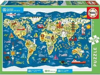Educa Világtérkép gyerek puzzle, 200 darabos