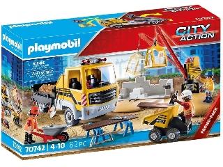 Építkezés billenős teherautóval