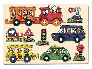 Fa puzzle Járművek 8 db-os kirakó