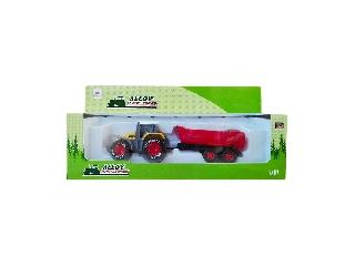 Fém játék traktor utánfutóval, többféle