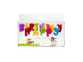 Happy Birthday csillogó betűk szülinapi gyertya szett