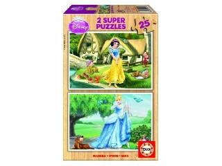 Hófehérke és Hamupipőke fapuzzle 2X25 db-os