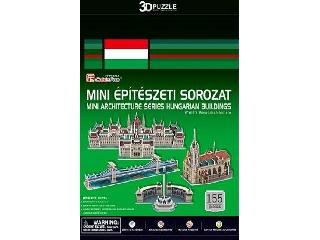 3D puzzle mini magyar épületek (Parlament, Mátyás-templom, Hősök tere, Lánchíd)