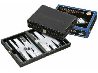 Backgammon - fekete műbőr 23 cm