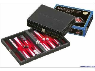 Backgammon fekete műbőr - 23 cm-es