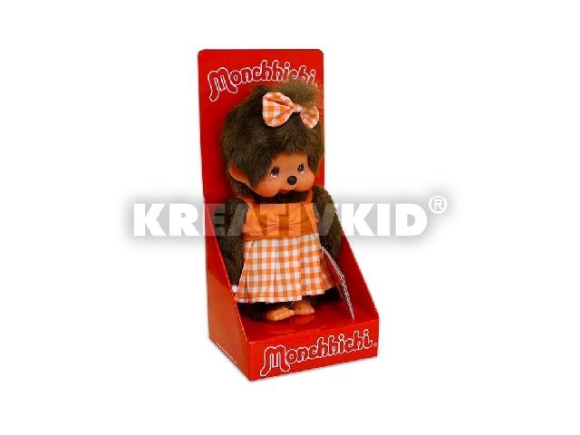 Monchhichi narancssárga ruhás lány 20cm