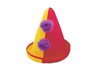 Bohóc kalap filcből - sárga-piros