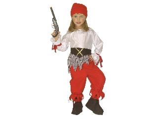 Piros-fehér kalóz lány jelmez 116 cm-es