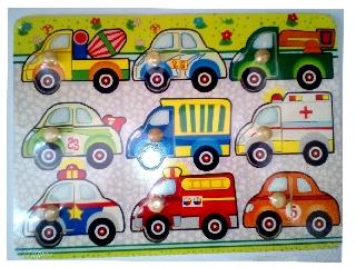 Fa puzzle járművek 9 darabos