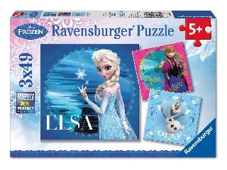Jégvarázs Puzzle 3x49 db - Elsa, Anna, Olaf