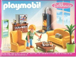 Playmobil Dollhouse - Nappali, világító kandallóval