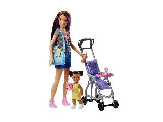 Barbie bébiszitter játékszett - Barna hajú baba kislánnyal babakocsival