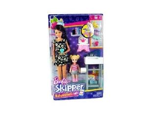 Barbie bébiszitter játékszett - Barna hajú baba szőke kislánnyal