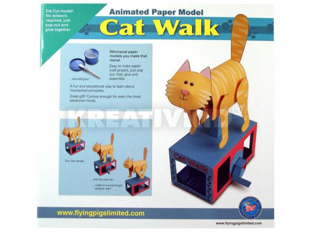 Mozgó papírjáték - Sétáló macska
