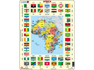 Afrika térkép + zászló Kl3