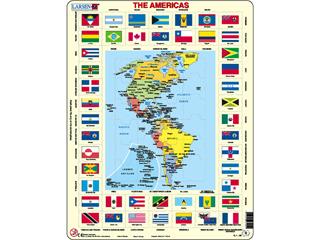 Amerika térkép + zászló Kl4