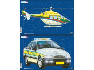 Larsen Midi Puzzle - Helikopter / Rendőrautó U3